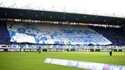 La coreografia dei tifosi Spal allo stadio Mazza (foto LaPresse)