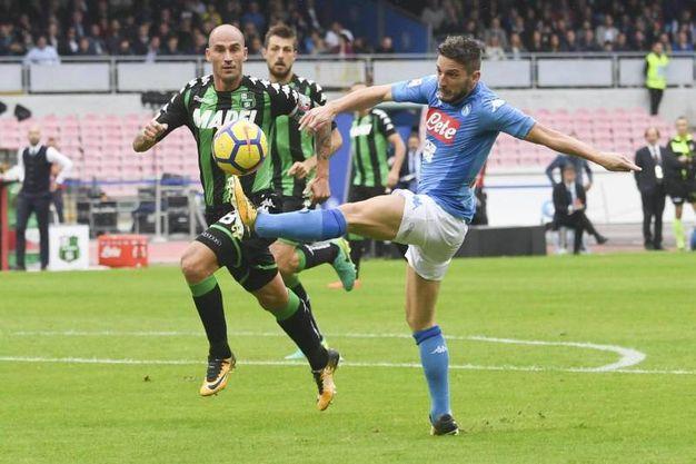 Cannavaro cerca di contrastare Mertens (foto Ansa)