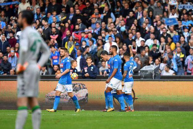 L'esultanza dei giocatori del Napoli dopo la rete del 2-1 (foto LaPresse)
