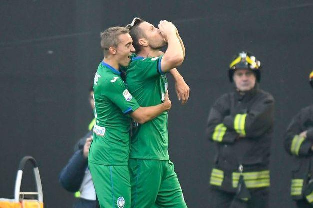 Kurtic dell'Atalanta esulta per il gol 0-1