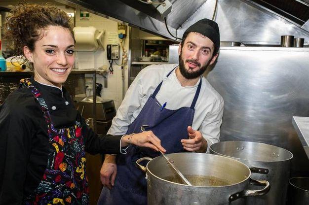 Nella cucina del ristorante Righi di San Marino dove ha lavorato in questi mesi (foto Pruccoli)