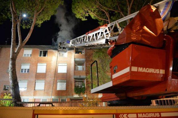I vigili del fuoco al lavoro con una scala mobile (foto Frasca)