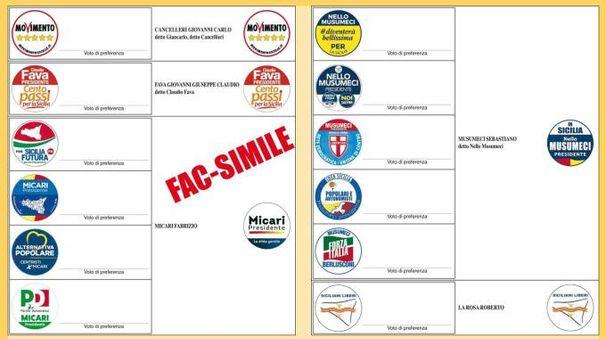 Elezioni regionali in Sicilia, la scheda elettorale (foto Ansa)