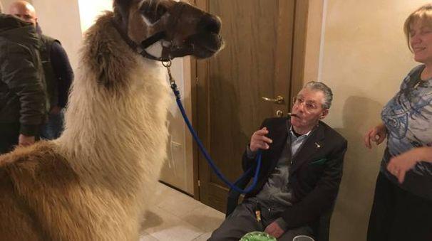 Umberto Bossi nell'azienda agricola Benetti a Rovigo
