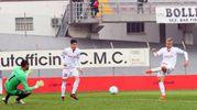Il secondo gol di Malcore (foto LaPresse)
