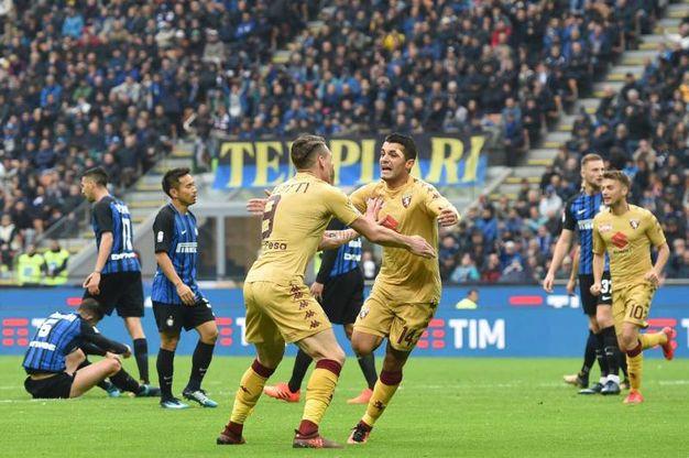 Esultanza di Iago Falque del Torino 0-1 (Ansa)