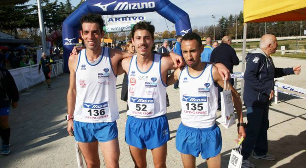 I primi tre classificati: da sinistra Nicholas De Nicolò, Alberto Della Pasqua e Rachid Benhamdame (foto Ravaglia)