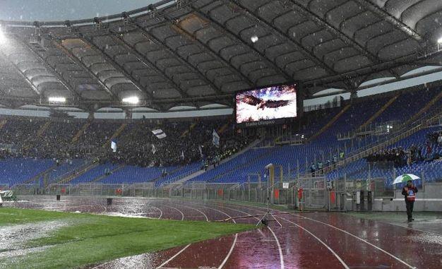 Nubifragio all'Olimpico, ritardato il match Lazio-Udinese (Ansa)