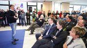 Renzi parla alla platea nella visita al Misano World Circuit (foto Petrangeli)