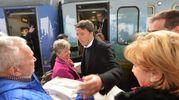L'arrivo alla stazione del segretario Pd, Matteo Renzi (foto Frasca)