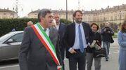 L'arrivo a Gualtieri del ministro Franceschini (foto Lecci)