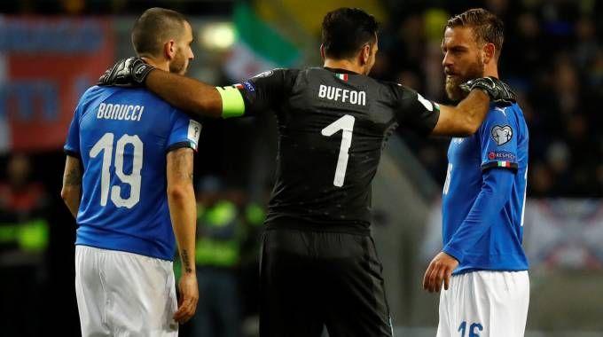 Buffon, Bonucci e De Rossi (LaPresse)