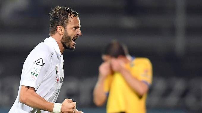 Spezia-Frosinone 1-1, l'esultanza di Gilardino (LaPresse)