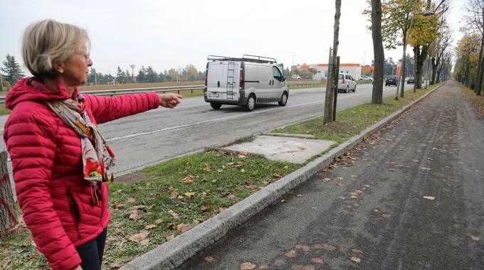 Maurizia Zardi, residente in via Emilia,  mostra come il cassonetto sia difficilmente raggiungibile a piedi