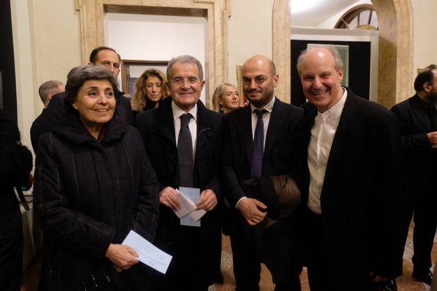 Romano Prodi con la moglie Flavia, Davide Conte e Nicola Sani (FotoSchicchi)