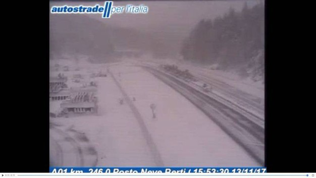 La neve dalla Webcam di Autostrade, sulla Bologna-Firenze