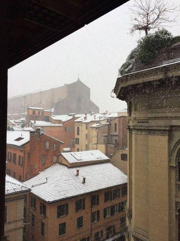 I tetti innevati, e San Petronio sullo sfondo nella foto di Alessandra Romagnoli