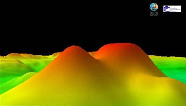 Fermo immagine tratto dall'animazione elaborata dall'Istituto Nazionale di Geologia e Vulcanologia (Ansa)
