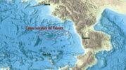 La mappa elaborata dall'Ingv per mostrare la catena di 15 vulcani sommersi (Ansa)