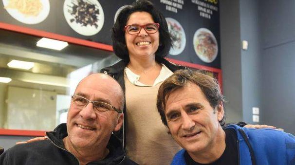 Gianni Conte, Marta Nunez e Alex Zanardi al ristorante «Primo Piatto» di Civitanova (foto Federico De Marco)