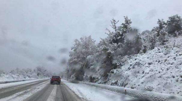 Previsioni meteo, nevica anche in Sardegna, nel Nuorese (foto Ansa)