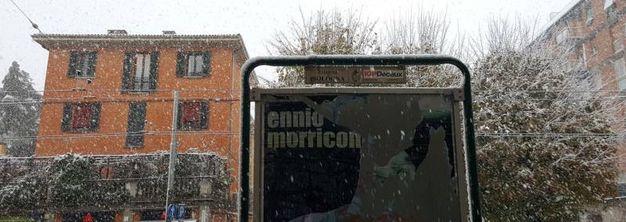 Neve sui cartelloni pubblicitari, foto di Franco Lanzarini