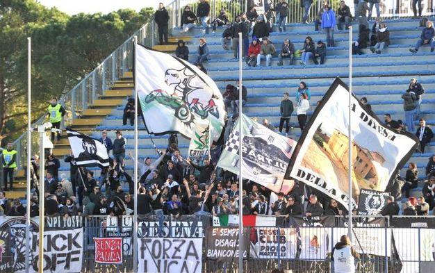 I tifosi del Cesena allo stadio 'Castellani' di Empoli (foto LaPresse)
