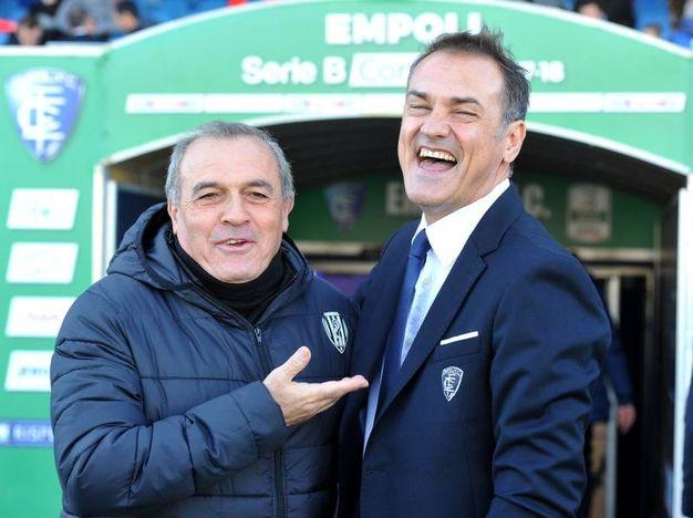 I sorrisi tra Castori e Vivarini ad inizio partita (foto LaPresse)