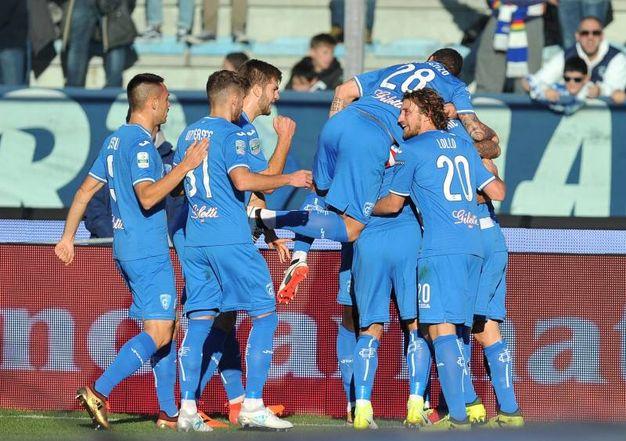 L'esultanza per l'1-0 dell'Empoli (foto LaPresse)
