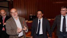 Da sinistra il giudice Costantini, il pm Nastasi, il giudice  Massaro e il presidente del tribunale Carrelli Palombi