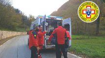 La squadra del Corpo Nazionale di Soccorso Alpino e Speleologico delle Marche di Macerata intervenuta sul posto