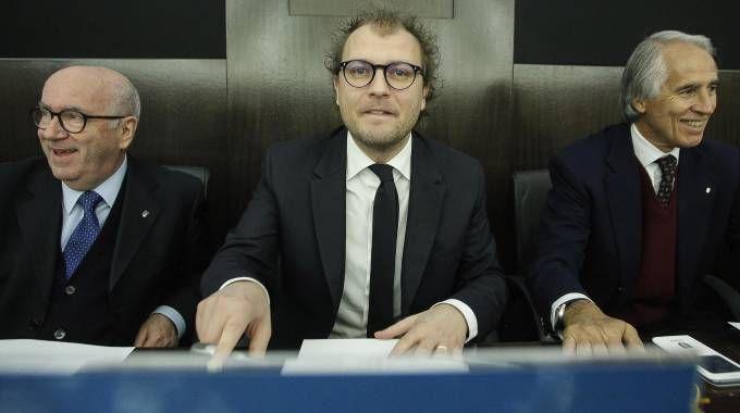 Carlo Tavecchio, Luca Lotti e Giovanni Malagò (Ansa)