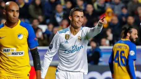 Cristiano Ronaldo contro l'Apoel (Afp)