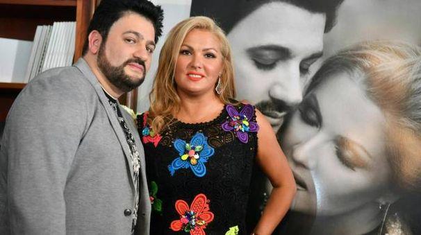 La Netrebko e Yussif Eyvazov durante la presentazione  del loro album Romanza