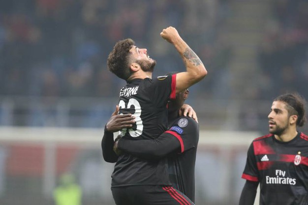 Europa League, Milan-Austria Vienna, esultanza di Cutrone dopo il gol (foto Newpress)
