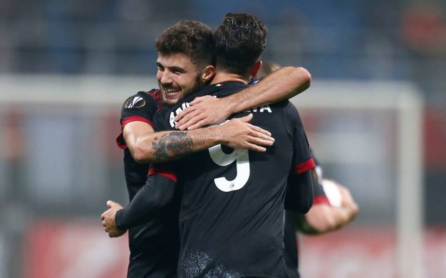 Europa League, Milan-Austria Vienna, esultanza di Silva dopo il gol (foto Lapresse)