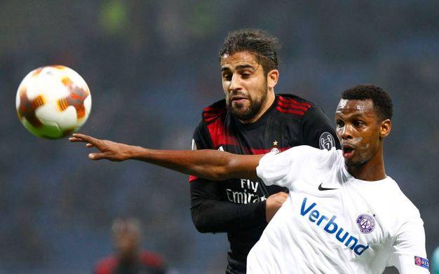 Europa League, Milan-Austria Vienna, esultanza di Rodriguez dopo il gol (foto Lapresse)