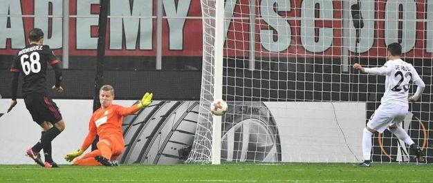 Europa League, Milan-Austria Vienna, il gol di Rodriguez (foto Ansa)