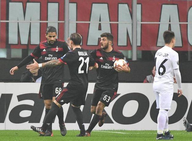 Europa League, Milan-Austria Vienna, esultanza dopo il gol di Rodriguez (foto Ansa)