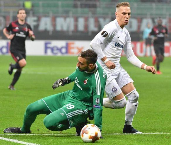 Europa League, Milan-Austria Vienna, il gol di Monschein (foto Ansa)