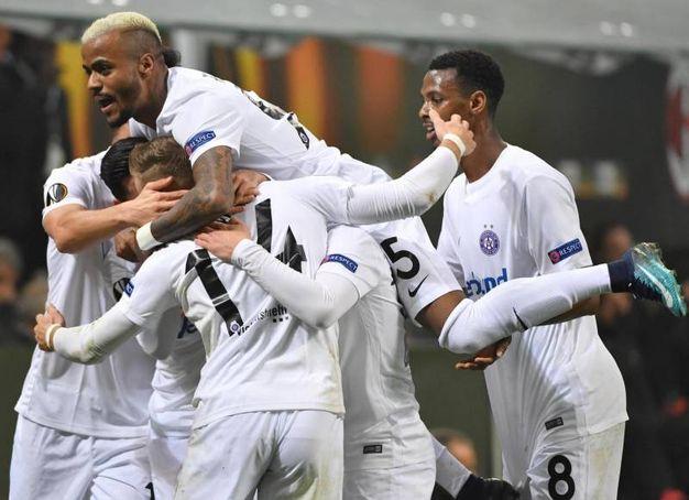 Europa League, Milan-Austria Vienna, esultanza dopo il gol di Monschein (foto Ansa)
