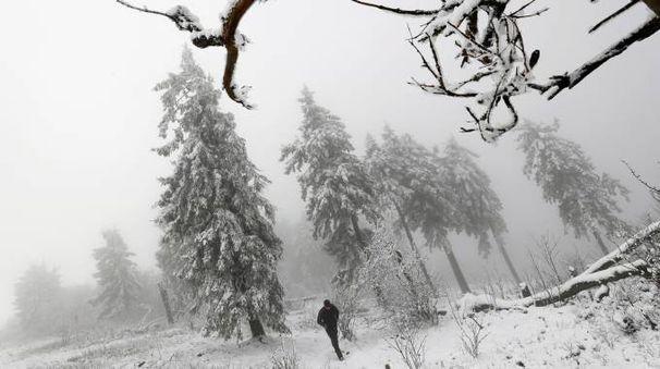Previsioni meteo, l'inverno debutta con la neve a bassa quota (foto Lapresse)