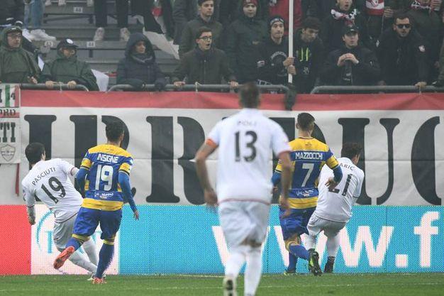 Il gol dell'1-0 al 5' (foto LaPresse)