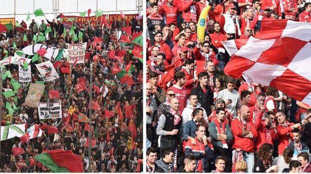 Ternana e Perugia sono pronte al derby. In foto le due tifoserie