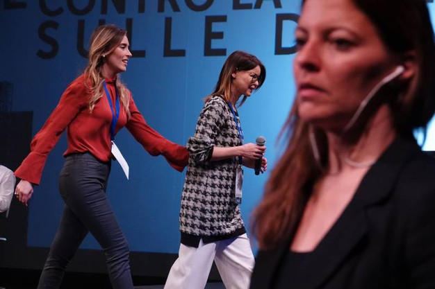 Maria Elena Boschi con Lucia Annibali (Giulio Garosi / New Press Photo)