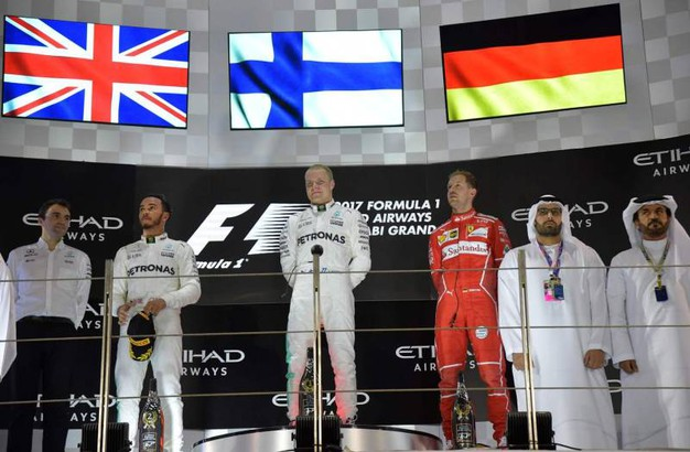 Hamilton, Bottas e Vettel sul podio (Afp)