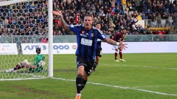 Pisa-Livorno 1-0, l'esultanza di Eusepi (Valtriani)