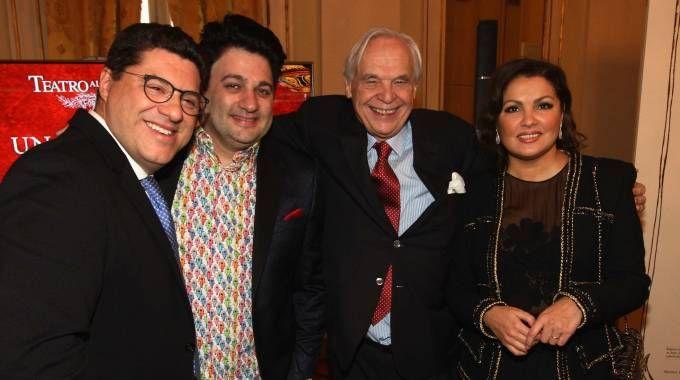 Luca Salsi, Yusif Eyvazov,  Alexander Pereira e Anna Netrebko