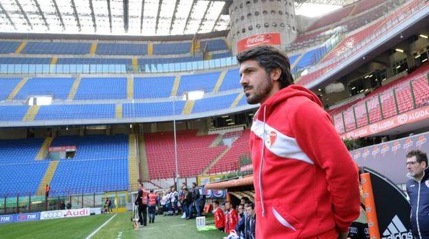 L'allenatore Ivan Gennaro Gattuso nella cornice di San Siro
