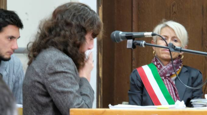 Rosita Cenni ieri in aula durante il controesame della difesa (Frasca)